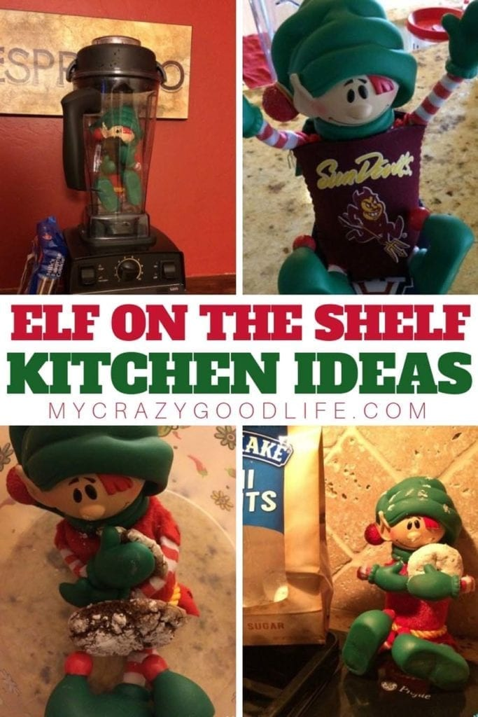 Here are some easy ideas for your elf on the shelf in your kitchen! It's always an easy place to hide the elf, since the kids aren't in there at night! If you are looking for some creative elf on the shelf ideas for the kitchen, these will have you going for a while! Elf on the Shelf Ideas | Kitchen Ideas for Elf on the Shelf | Elf on the Shelf Kitchen Ideas | Elf on the Shelf Kitchen Poses