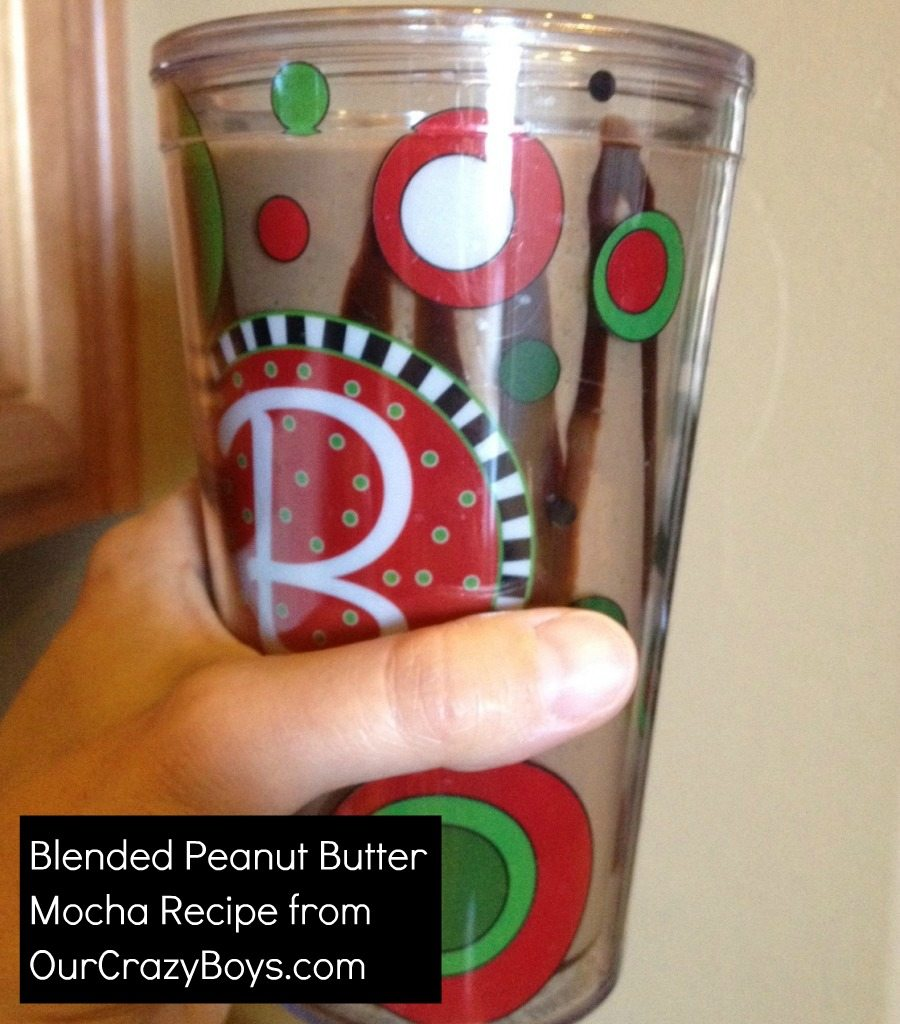 This is my favorite recipe for a blended peanut butter mocha, made with coffee ice cubes. It's peanut butter heaven–so delicious.