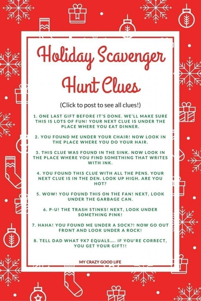 As kids get older they ask for more expensive gifts, which of course means less under the tree. A Christmas Scavenger hunt can make present time last longer! Holiday Scavenger Hunt | Christmas Tradition | Holiday Tradition #tradition