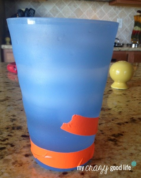 A duct tape marker for your water cup