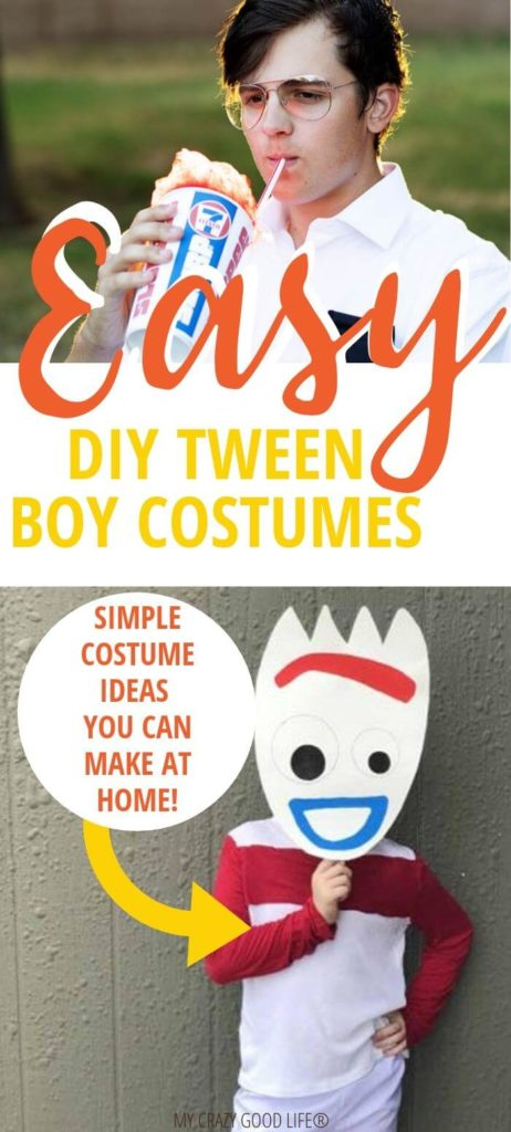 easy tween boy halloween costumes pin showing some ideas and the title in the middle.