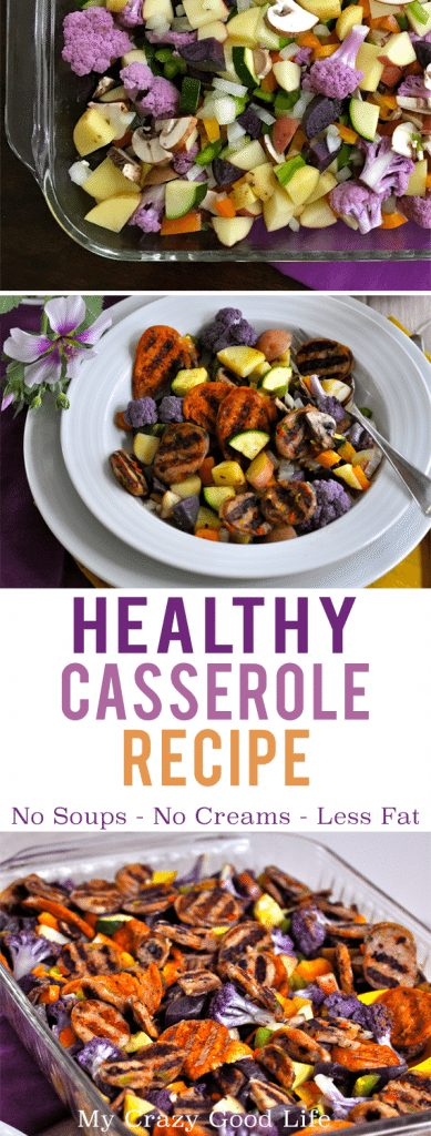 """Do you love casseroles, but don't so much love the calories that come with them? This is my family's favorite dinner–we call it an """"uncasserole."""" Potatoes, sausage, and veggies–without the cream-based soups! Roast it all together and you have a healthier casserole."""