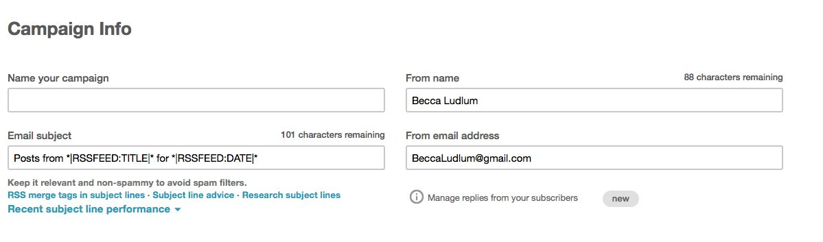 How to set up MailChimp RSS to email