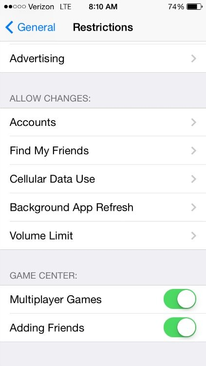 Disable multi-player game settings on iPhone