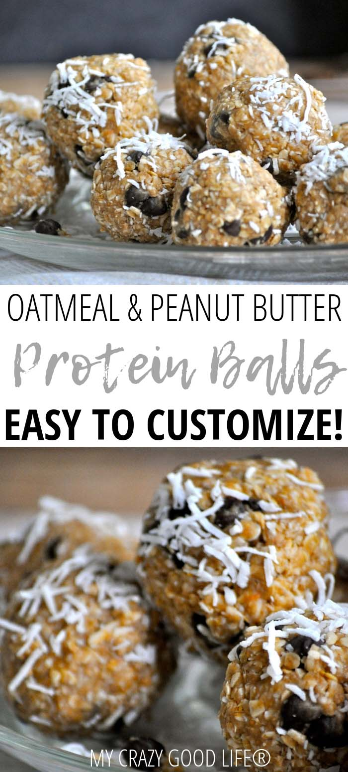These Oatmeal Peanut Butter Protein Balls are the perfect healthy snack! They're a filling peanut butter oatmeal ball recipe that is super easy to customize with your favorite add-ins–chocolate chips, raisins, cranberries, flax seed, and more.