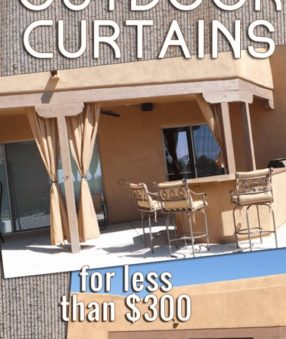 We recently made outdoor curtains for our back patio, and they have made such a difference in the amount of heat that comes into our west-facing home. Closing these right before the sun begins to set can keep our home cool and allow us to be out on the patio during that time. These DIY outdoor curtains were a pretty easy project and cost under $300.