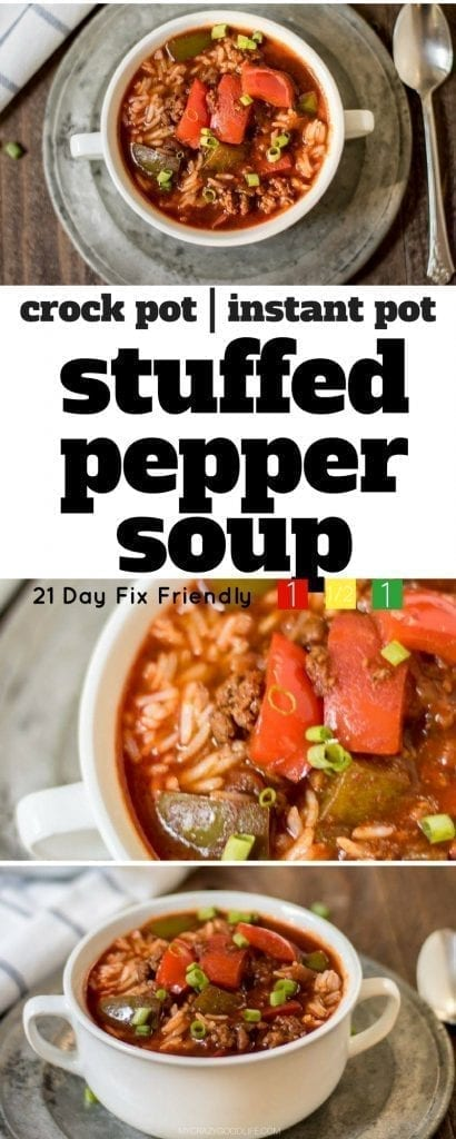 This stuffed pepper soup in the crock pot is so easy, and really delicious. I've been known to add some ground Italian sausage to it. I've also adapted it for the Instant Pot. With ground turkey or beef, this recipe is great for the 21 Day Fix! Container counts included.