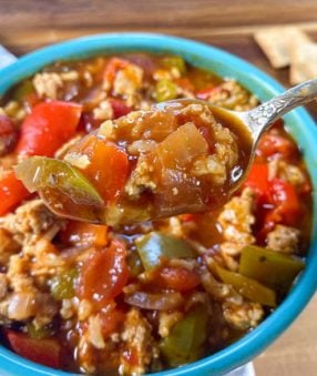 blue bowl of stuffed pepper soup