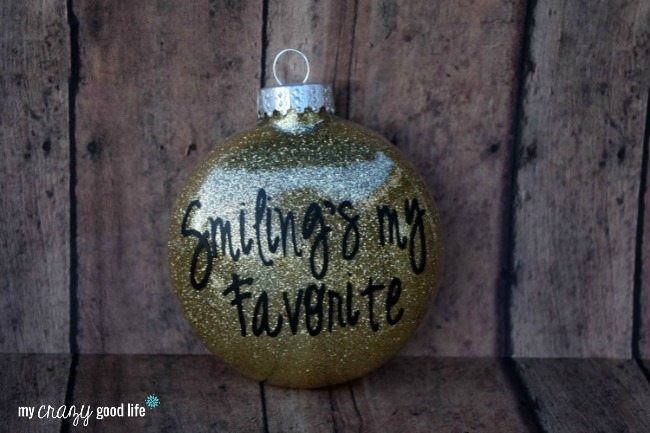 Finished DIY Silhouette Ornament with Glitter