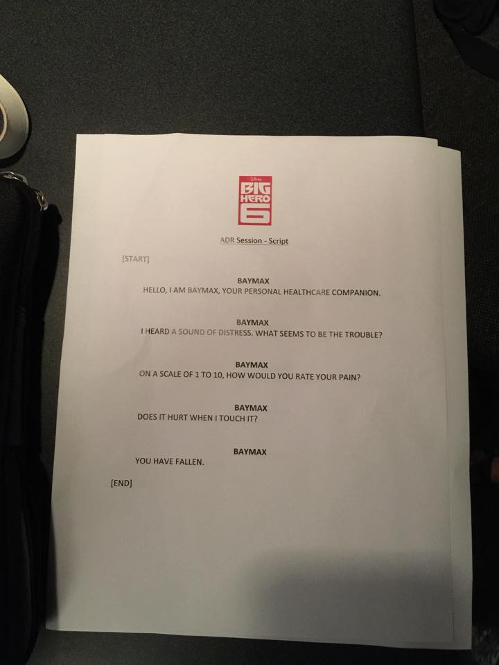 Baymax Voiceover Script