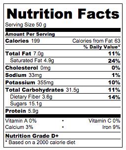 Coconut Brownie Nutrition Info