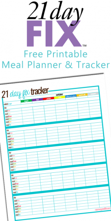 Free printable 21 Day Fix meal tracking sheet