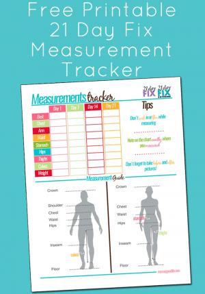 Free Printable 21 Day Fix Measurement Tracker