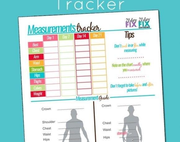 Free Printable 21 Day Fix Body Measurements Tracker