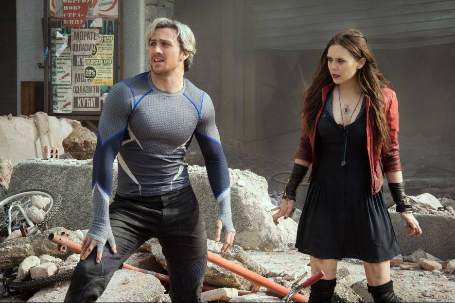 "Aaron Taylor-Johnson (""Quicksilver"") and Elizabeth Olsen (""Scarlet Witch"")"