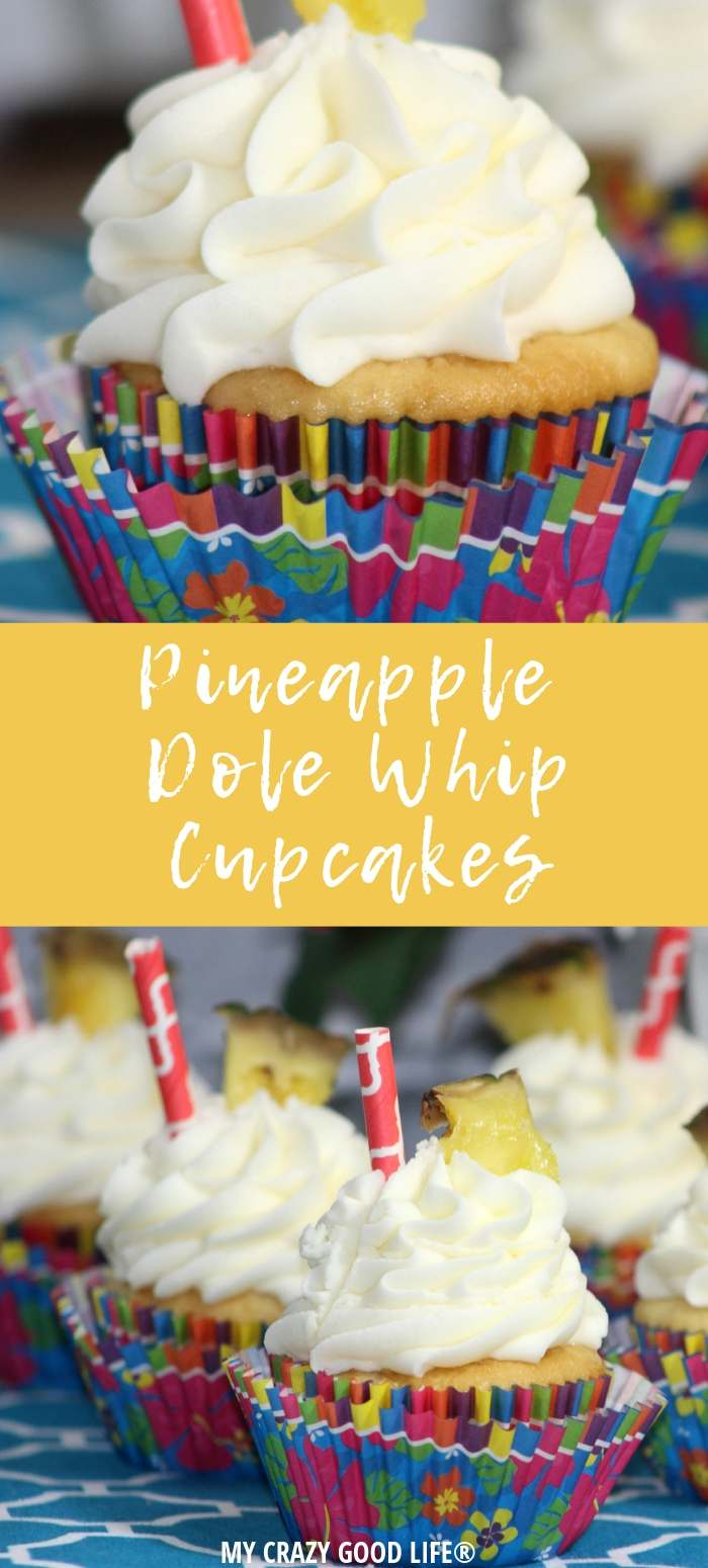 collage image of cupcakes in colorful wrappers and pineapple garnish
