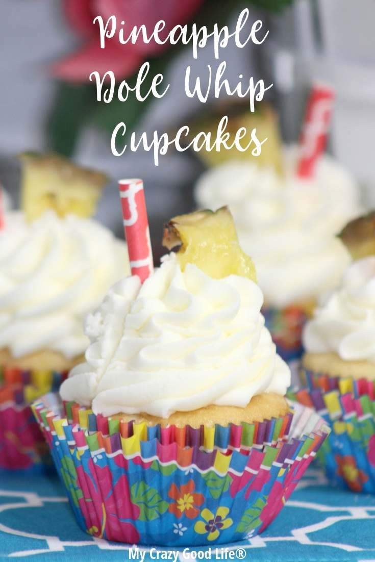 image with text of Dole Whip cupcakes
