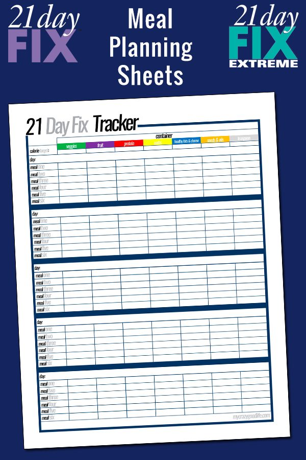 Free printable 21 Day Fix meal planning sheets