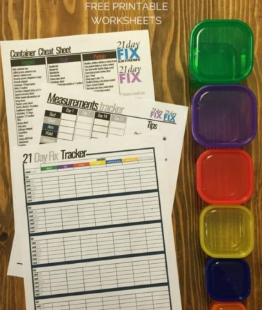 21 Day Fix Free Printable Worksheets for meal tracking, measurements, and a container cheat sheet.