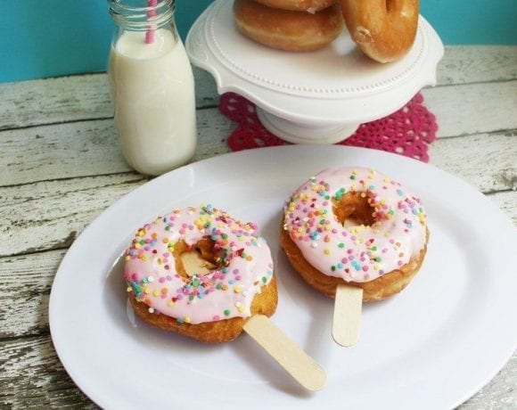 These fun and easy doughnut pops are the perfect weekend treat! Purchase doughnuts and prepare some quick homemade frosting, sprinkles are optional!