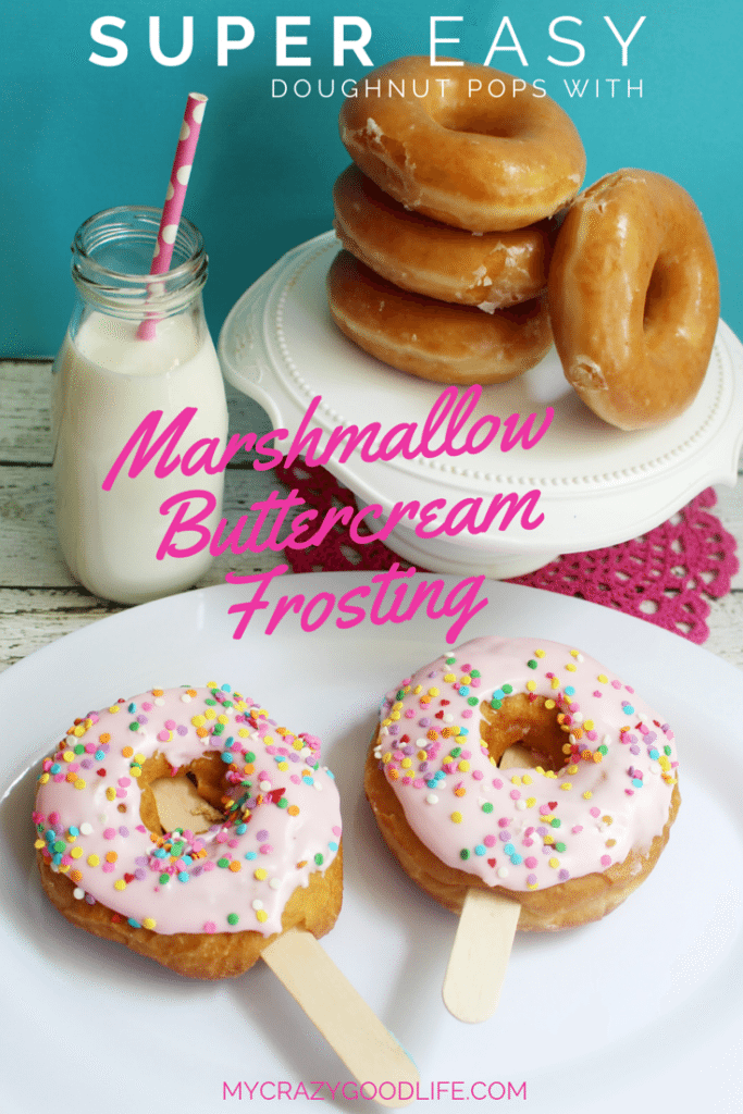Doughnut Pops with Marshmallow Buttercream Frosting