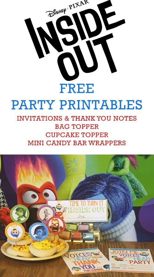 Free Printable Inside Out Party Invitations, Bag Toppers, and more!