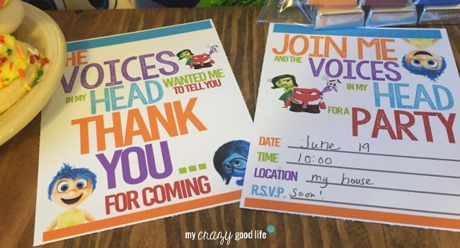 Inside Out Thank You Notes and Party Invitations