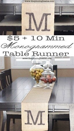 DIY-Monogrammed-Table-Runner from ThePinningMama.com