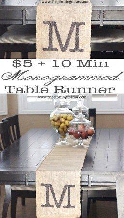 DIY-Monogrammed-Table-Runner from ThePinningMama.com