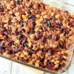 This homemade healthy baked beans with ground turkey literally makes the best baked beans I've ever had–it's an old family recipe that I've lightened up a bit with turkey, turkey bacon, and a homemade pork and beans recipe instead of the canned stuff.