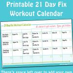 Printable 21 Day Fix Workout Calendar