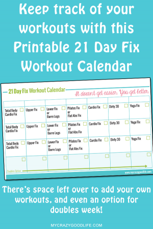 Free Printable 21 Day Fix Workout Calendar
