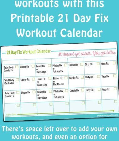 This free printable 21 Day Fix workout calendar can be printed as many times as you need so you're not marking up your book to keep track of your workouts! Stay focused on the 21 Day Fix with my free printables!