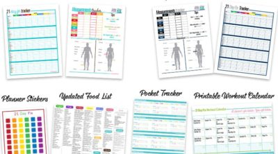 a snapshot of all the free 21 day fix printables