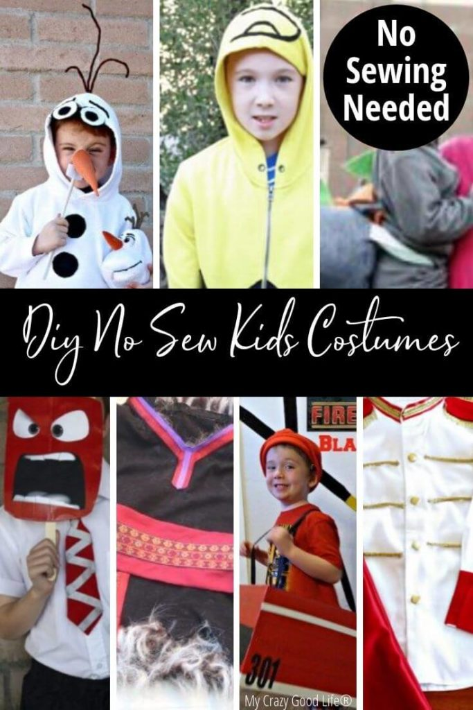 Pin showing some of the DIY no sew kids costumes for Halloween and title in the middle.