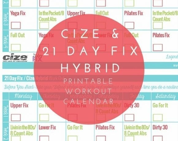 21 Day Fix Cize Hybrid Workout Calendar