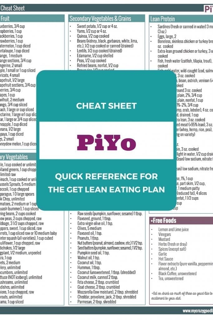 Use this free printable PiYo Eating Plan Cheat Sheet for reference while on the program. Take it to the grocery store, put it on your fridge, and keep a copy in your purse!