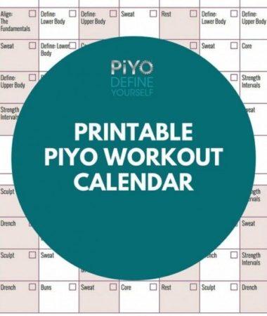 Printable PiYo Workout Calendar: Regular Version