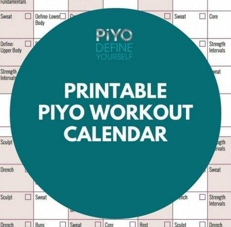 Printable PiYo Workout Calendar: Regular Version