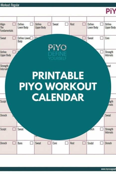 PiYo Workout Calendar Regular Version My Crazy Good Life