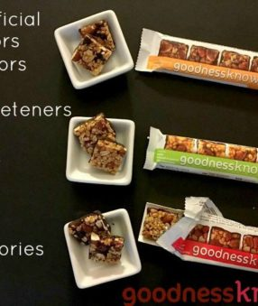 goodnessknows Snack Bars: NO artificial ingredients and only 150 calories each.