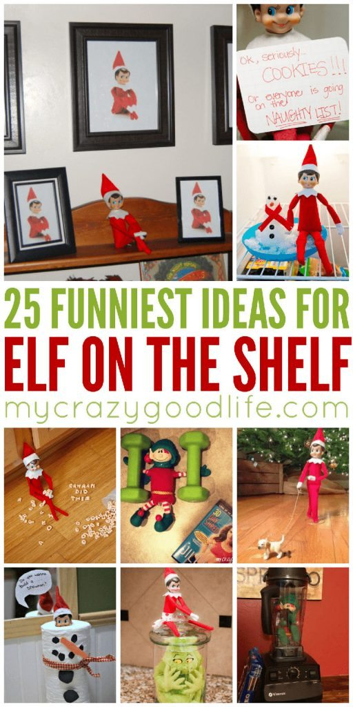 25 of the funniest Elf on the Shelf ideas for this season! It's not something to do every night, but sometimes you want a fun idea for your self. These are perfect Elf on the Shelf tricks for your family. Elf on the Shelf | Funniest Elf on the Shelf | Elf on the Shelf Ideas | Funny Elf on the Shelf Ideas