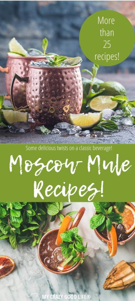 Moscow Mule recipes pin showing cocktails top and bottom with title in the middle.