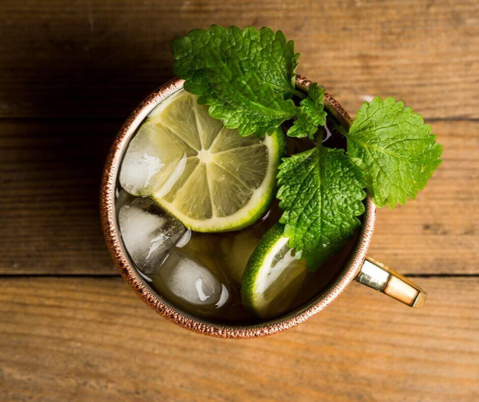 top down view of a Moscow Mule.