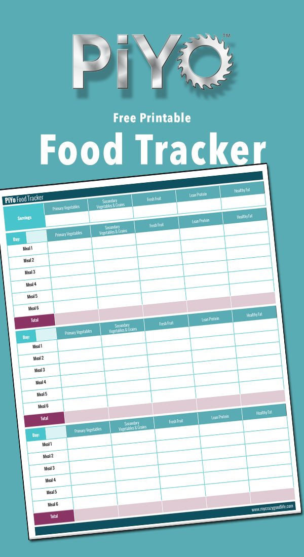 Free Printable Piyo Food Tracker My Crazy Good Life