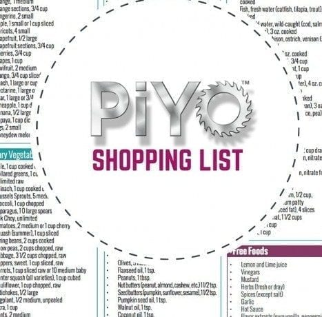 PiYo Printable Shopping LIst