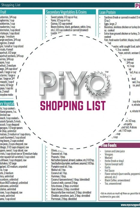 PiYo Printable Shopping LIst