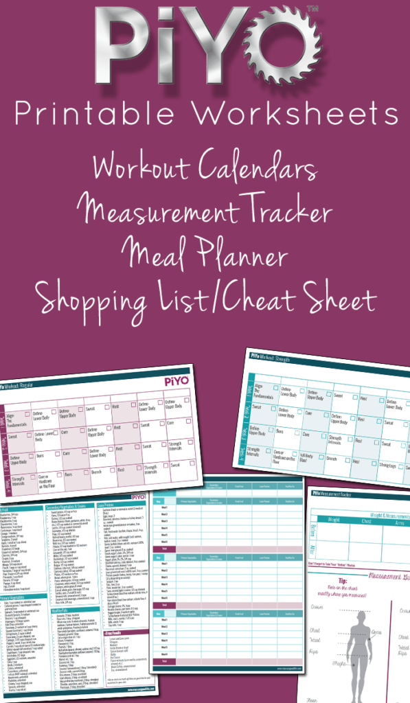 Piyo printable worksheets my crazy good life for For planner