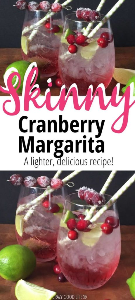 Pin showing the finished cranberry margarita recipe with title text in the middle.
