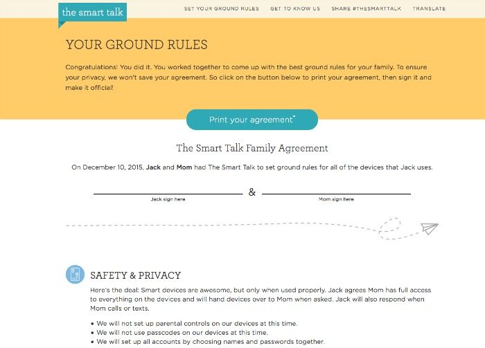 The Smart Talk internet contract for kids